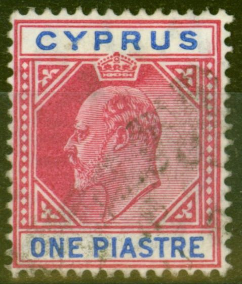 Cyprus 1904 1pi Carmine & Blue SG64a Broken Top Left Triangle Fine Used