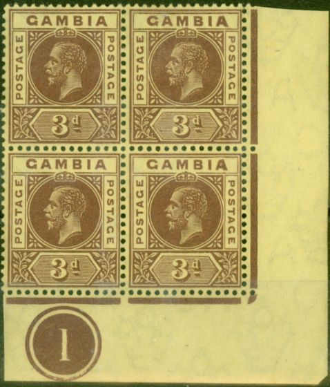 Rare Postage Stamp from Gambia 1912 3d Purple-Yellow SG91var Malformed A x 2 in a V.F MNH & VLMM Pl 1 Corner Block of 4