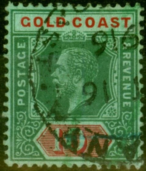 Valuable Postage Stamp from Gold Coast 1913 10s Green & Red-Green SG83 Fine Used