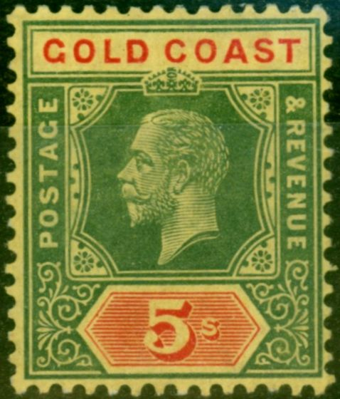 Rare Postage Stamp from Gold Coast 1913 5s White Back SG82b Fine & Fresh Mtd Mint