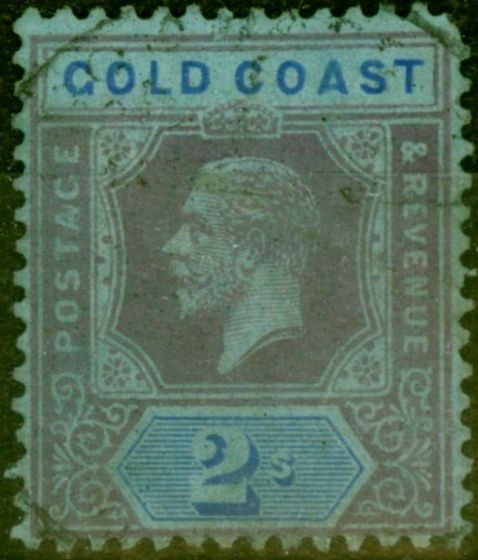 Valuable Postage Stamp from Gold Coast 1921 2s Purple & Blue-Blue SG80b Die II Good Used