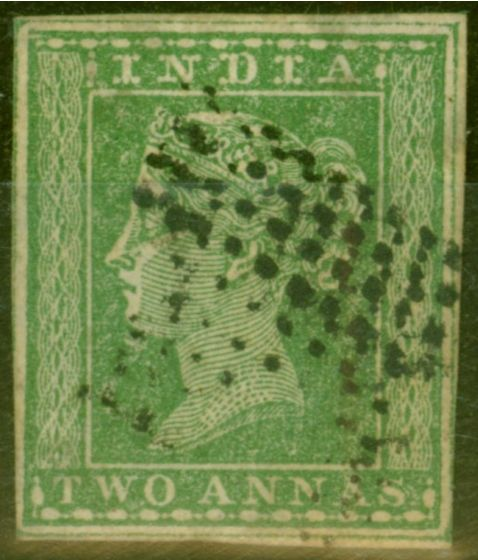 Old Postage Stamp from India 1854 2a Green SG31b Clearly Showing Wmk Type 10a No 4 Fine Used