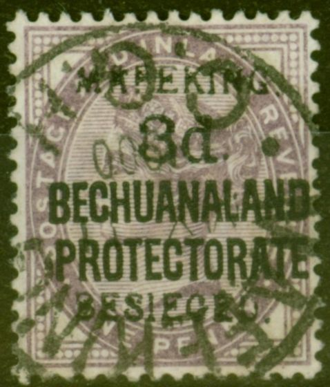 Rare Postage Stamp from Mafeking 1900 3d on 1d Lilac SG7 Fine Used
