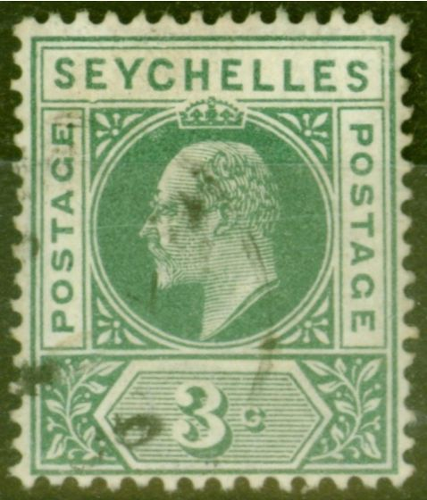 Rare Postage Stamp from Seychelles 1903 3c Dull Green SG47a Dented Frame Fine Used