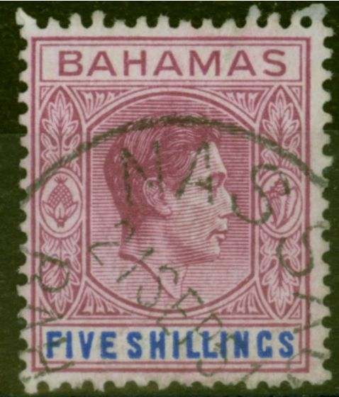 Rare Postage Stamp from Bahamas 1951 5s Red-Purple & Dp Brt Blue SG156e V.F.U