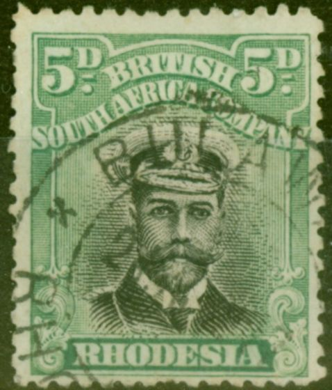 Rare Postage Stamp from Rhodesia 1913 5d Black & Brt Green SG227 Die II Fine Used