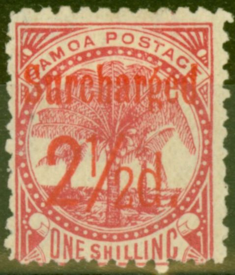 Valuable Postage Stamp from Samoa 1898 2 1/2d on 1s Dull Rose-Carmine SG85 Fine Mtd Mint (5)