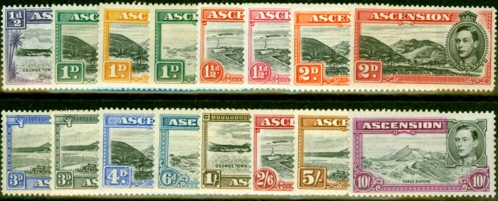 Collectible Postage Stamp from Ascension 1938-53 Set of 16 SG38b-47b Very Fine Lightly Mtd Mint