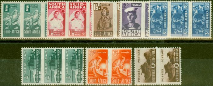 Rare Postage Stamp from South Africa 1942-44 War Effort set of 8 SG97-104 V.F Very Lightly Mtd Mint