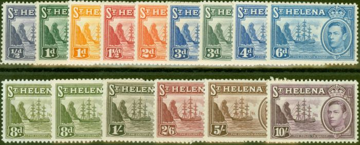 Collectible Postage Stamp from St Helena 1938-44 set of 15 SG131-140 V.F Very Lightly Mtd Mint
