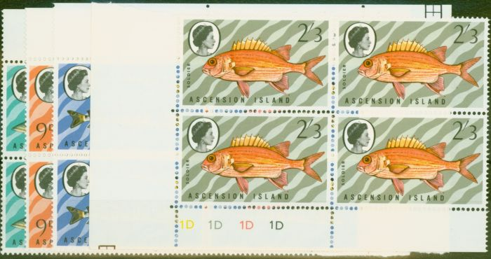 Old Postage Stamp from Ascension 1970 Fish 3rd Series set of 4 SG126-129w in Superb MNH Corner Blocks of 4