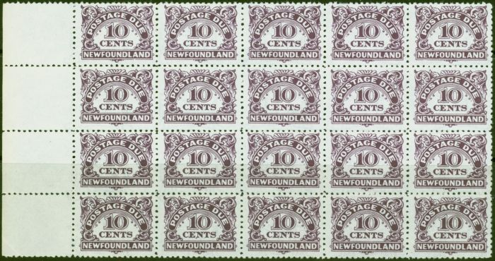 Collectible Postage Stamp from Newfoundland 1949 10c Violet SGD6a With Wmk V.F MNH Block of 20