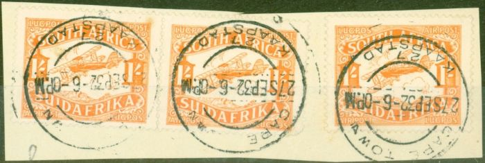 Rare Postage Stamp from S.Africa 1929 1s Orange SG41 x 3 Piece complete CAPE TOWN 27 SEP 32 KAAPSTAN CDS