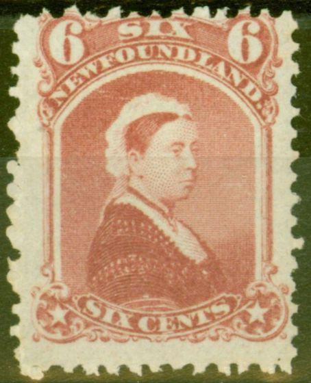Valuable Postage Stamp from Newfoundland 1870 6c Rose SG39 Fine Mtd Mint