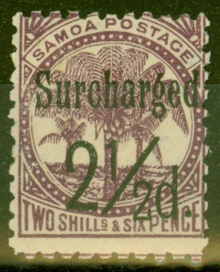 Old Postage Stamp from Samoa 1898 2 1/2d on 2s6d Dp Purple SG87 Fine Mtd Mint (2)