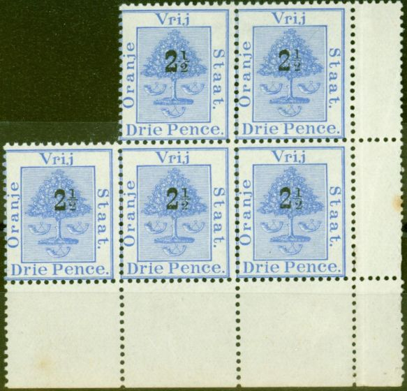 Collectible Postage Stamp from Orange Free State 1897 2 1/2d on 3d Ultramarine SG83 Fine MNH & LMM Block