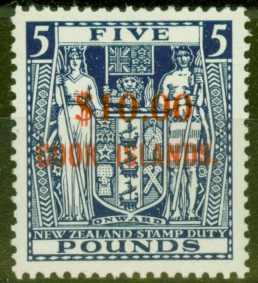 Valuable Postage Stamp from Cook Islands 1967 $10 on £5 Blue SG221 Very Fine MNH
