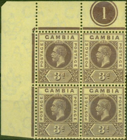 Collectible Postage Stamp from Gambia 1912 3d Purple-Yellow SG91var Broken Inner Frame Line above G in Gambia in a  V.F MNH Pl 1 Block of 4