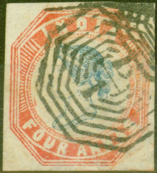 Old Postage Stamp from India 1855 4a Blue & Red Head Die III Frame Die II V.F.U 4 Good Clear Margins