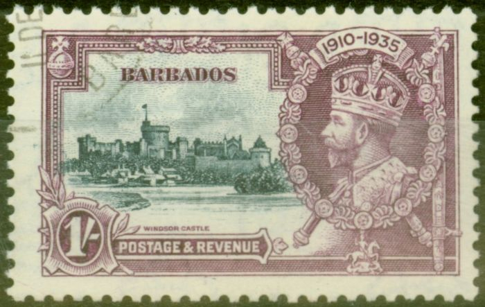 Rare Postage Stamp from Barbados 1935 1s Slate & Purple SG244L Kite & Horiz Log Superb Used Scarce