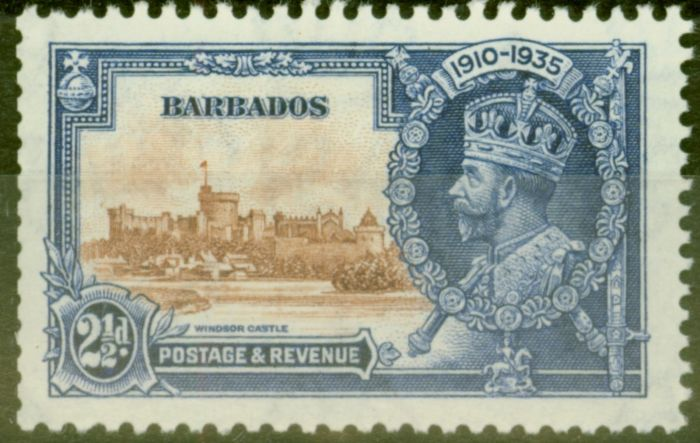 Old Postage Stamp from Barbados 1935 2 1/2d Brown & Dp Blue SG243m Bird by Turret V.F Very Lightly Mtd Mint