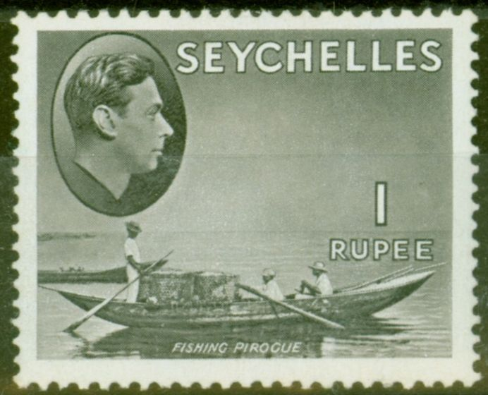 Rare Postage Stamp from Seychelles 1938 1R Grey-Black SG146a Fine Mtd Mint