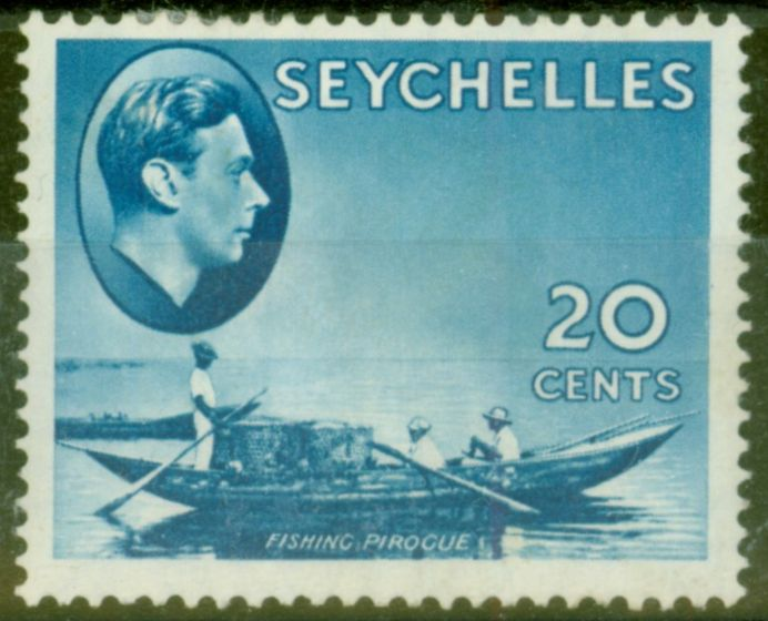 Rare Postage Stamp from Seychelles 1938 20c Blue SG140 Fine Mtd Mint