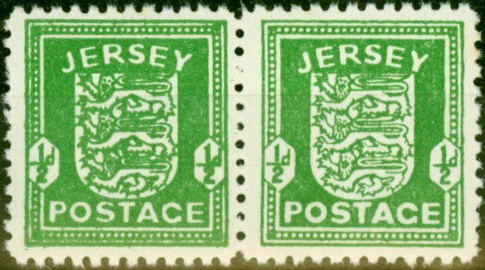 Jersey 1942 1/2d Bright Green SG1 Fine MNH Pair