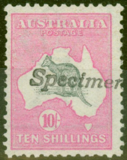 Old Postage Stamp from Australia 1913 10s Grey & Pink Type A Specimen SG14s BW47x Var Fine MNH