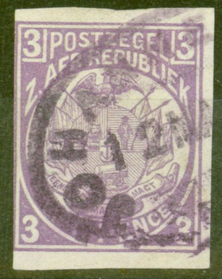 Collectible Postage Stamp from Transvaal 1885 3d Mauve SG180 var Imperf Single Fine Used Scarce