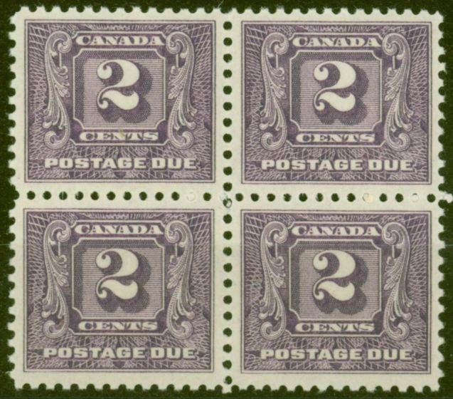 Valuable Postage Stamp from Canada 1930 2c Brt Violet SGD10 V.F MNH Block of 4