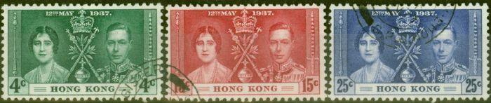 Old Postage Stamp from Hong Kong 1937 Coronation set of 3 SG137-139 V.F.U