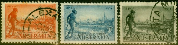 Collectible Postage Stamp from Australia 1934 Set of 3 SG147-149 Good Used