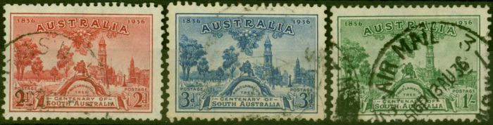 Rare Postage Stamp from Australia 1936 Centenary of S.A Set of 3 SG161-163 Good Used