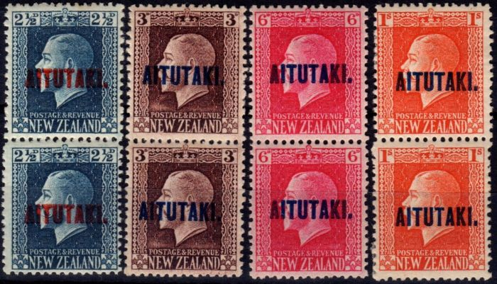 Old Postage Stamp from Aitutaki 1917-18 set of 4 Vertical Pairs SG15b-18b Fine & Fresh MNH & MM