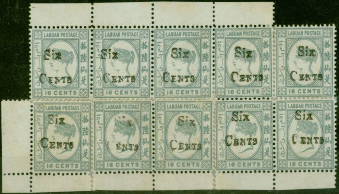 Valuable Postage Stamp from Labuan 1892 6c on 16c Grey SG50 Complete Sheet of 10 Fine Unused Scarce