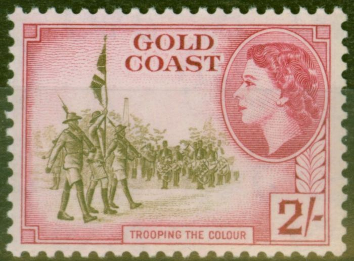 Collectible Postage Stamp from Gold Coast 1954 2s Brown-Olive & Carmine SG162 V.F MNH