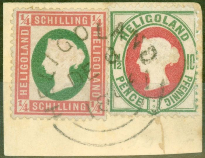 Old Postage Stamp from Heligoland 1873 1/4 Sch Rose & Green SG5 Die I & 10pf (1 1/2d) SG14 V.F.U Piece