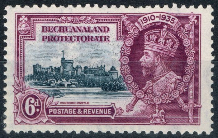 Valuable Postage Stamp from Bechuanaland 1935 6d Slate & Purple SG114b Short Extra Flagstaff V.F MNH