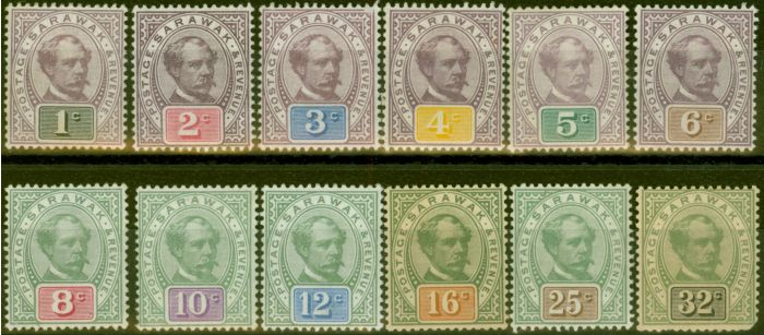 Collectible Postage Stamp from Sarawak 1888-97 set of 12 to 32c SG8-19 Ave - Fine Mtd Mint
