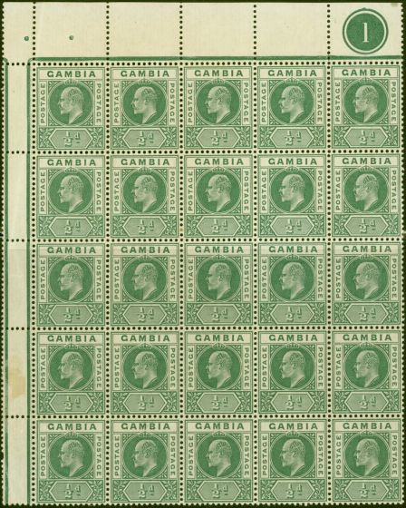 Collectible Postage Stamp from Gambia 1902 1/2d Green SG45 Fine MNH Pl 1 Interpane Block of 25