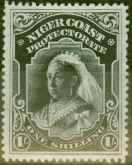 Rare Postage Stamp from Niger Coast 1898 1s Black SG72 Fine Lightly Mtd Mint