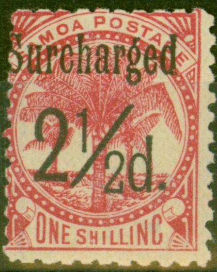 Rare Postage Stamp from Samoa 1898 2 1/2d on 1s Dull Rose-Carmine SG86 Fine Mtd Mint (5)