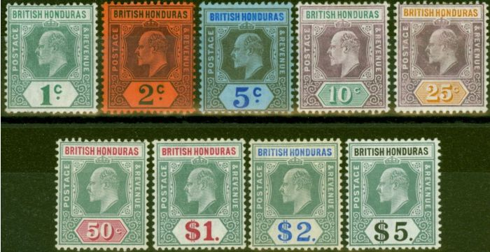 Collectible Postage Stamp from British Honduras 1904-07 set of 9 SG84a-93 Fine Mtd Mint