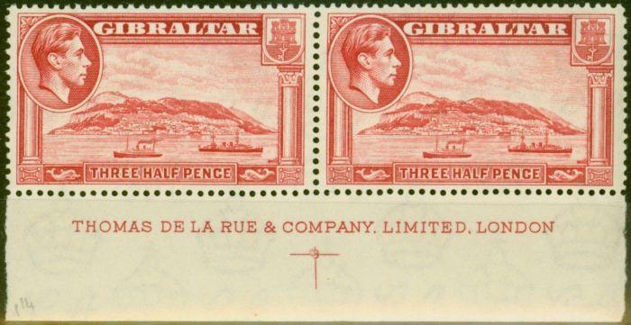 Valuable Postage Stamp from Gibraltar 1938 1 1/2d Carmine SG123 P.14 V.F MNH Imprint Pair