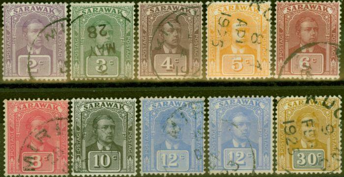 Old Postage Stamp from Sarawak 1922-23 set of 10 SG63-71 V.F.U
