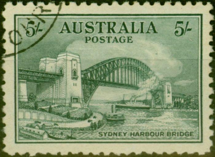 Old Postage Stamp from Australia 1932 Sydney Harbour Bridge 5s Blue-Green SG143 Superb Used