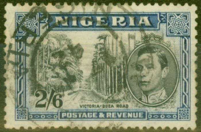 Rare Postage Stamp from Nigeria 1938 2s6d Black & Blue SG58 P.13 x 11.5 Good Used