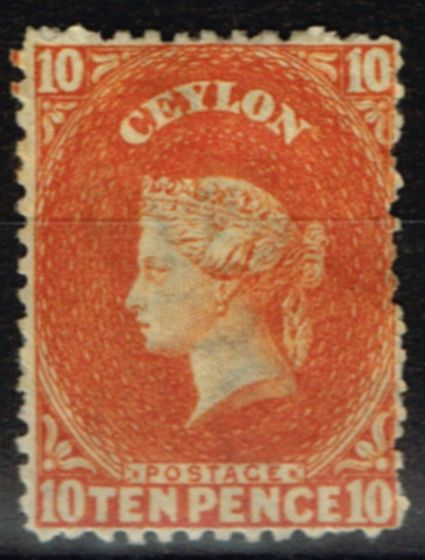 Ceylon 1867 10d Red Orange SG70b Fine Mtd Mint