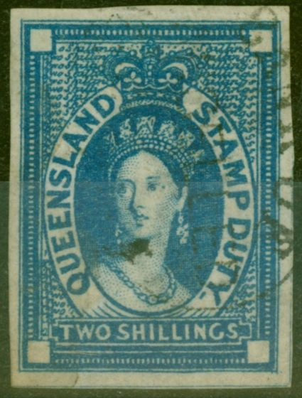 Old Postage Stamp from Queensland 1871 2s Blue SGF19var Imperf Single Fine Used Fiscal Cancel Rare